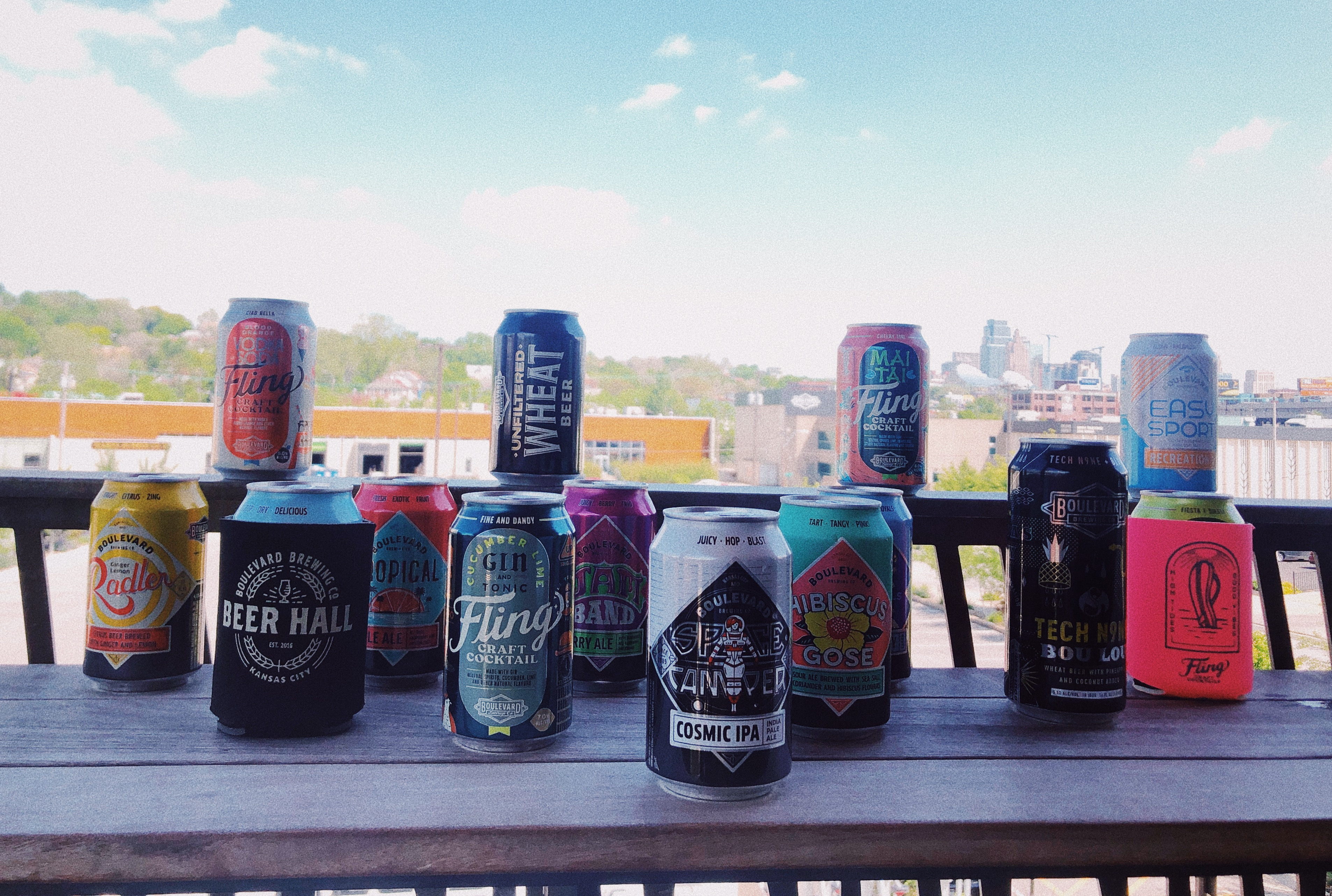 Full Line up of Boulevard Cans on Beer Hall Patio