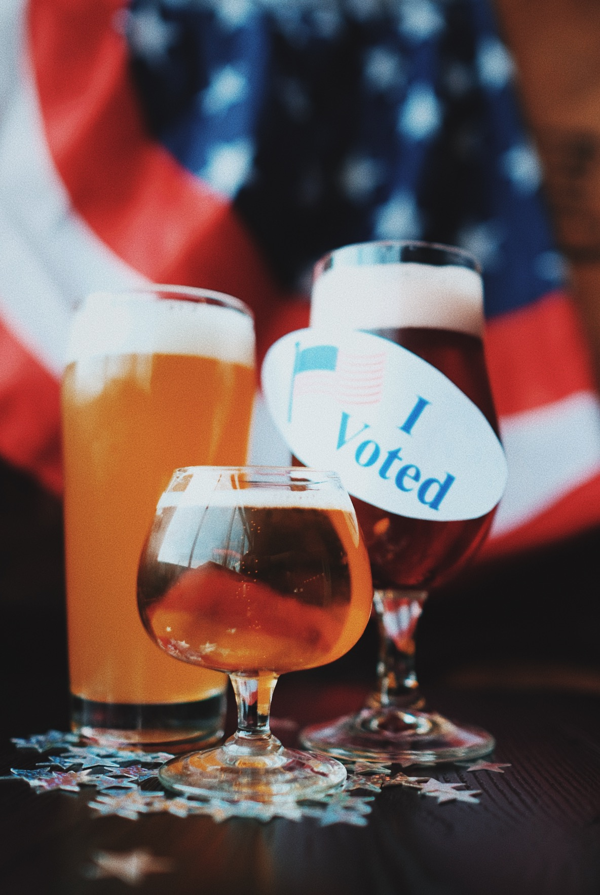 Three Beers with an I Voted sticker