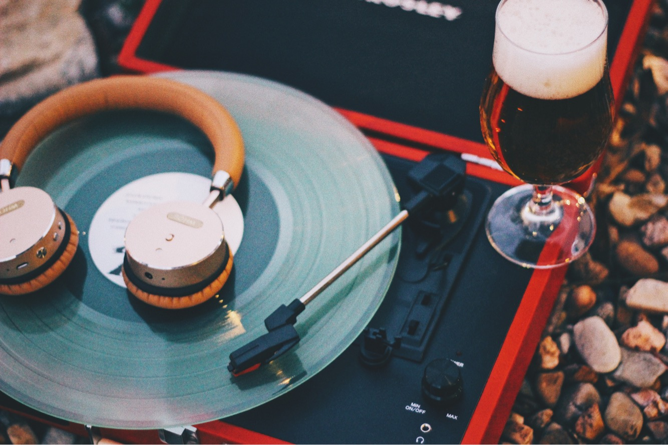 Record Player with Beer & headphones